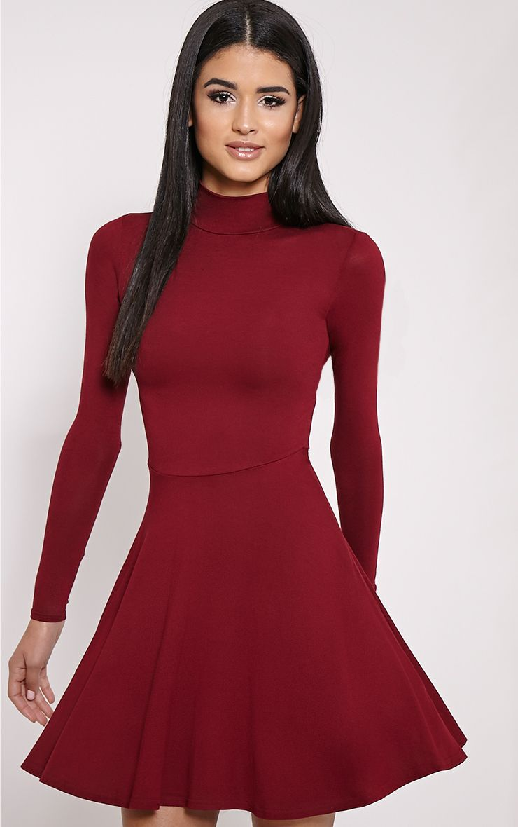 Basic Wine High Neck Jersey Skater Dress