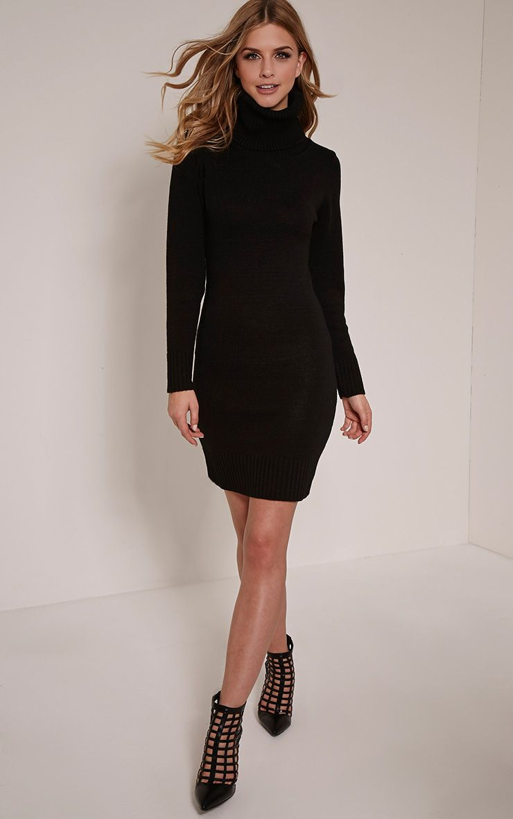 Lina Black Roll Neck Knitted Mini Dress 1