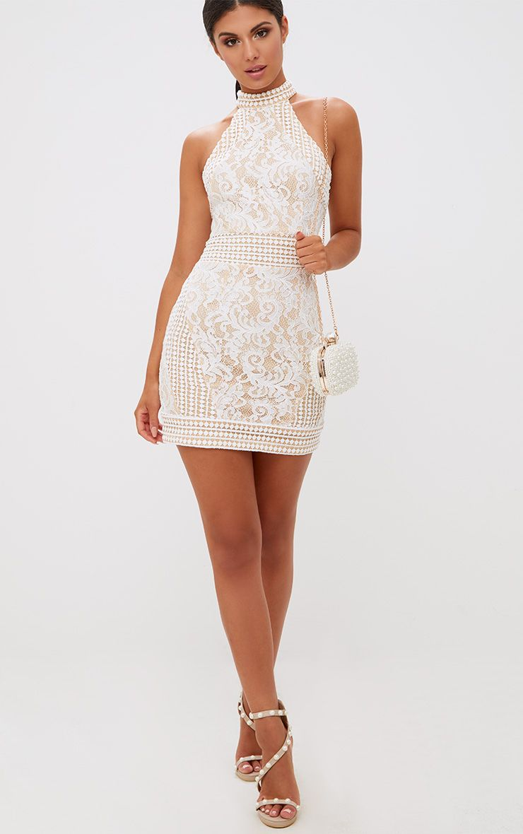 White High Neck Lace Crochet Bodycon Dress Dresses