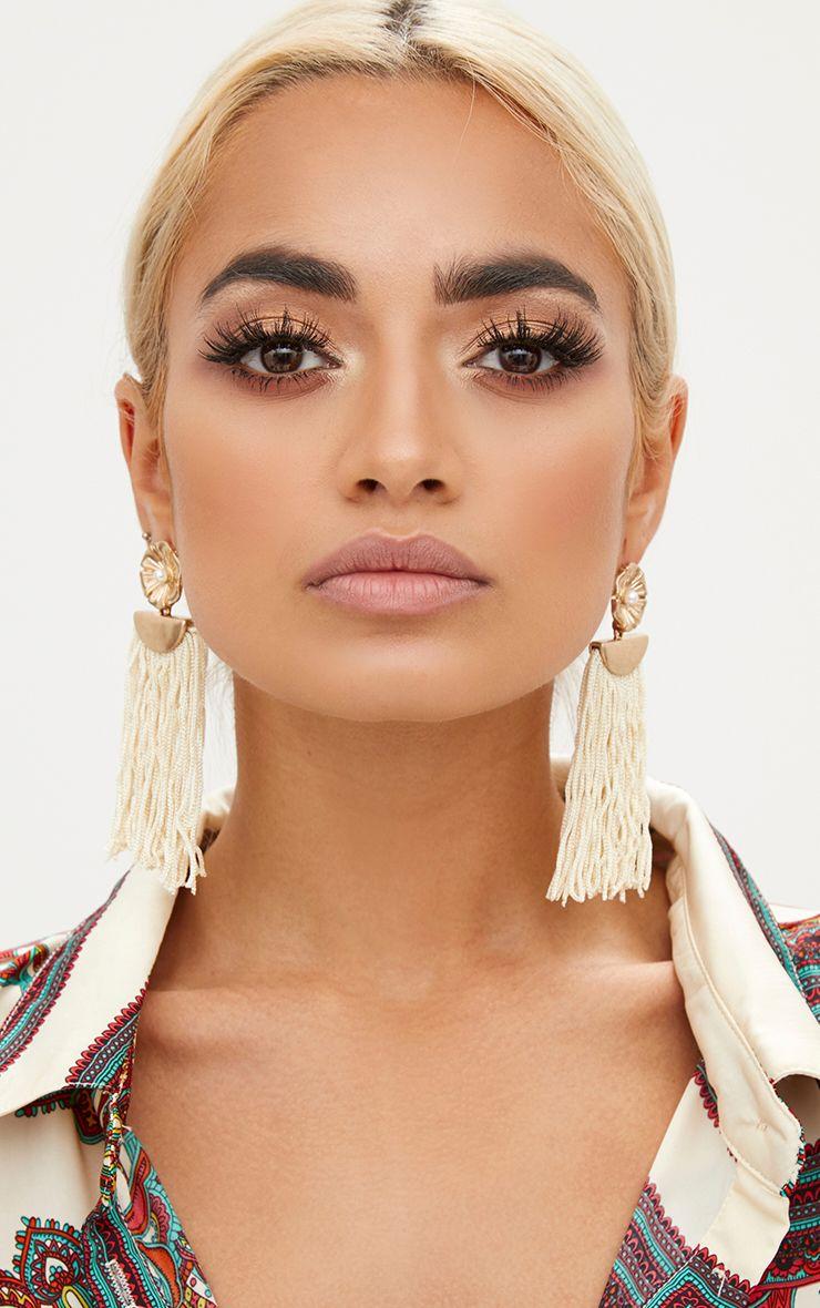 Cream Floral Stud Tassel Drop Earrings 1