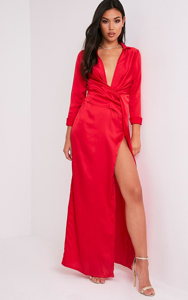 Alyssia Red Twist Front Maxi Shirt Dress