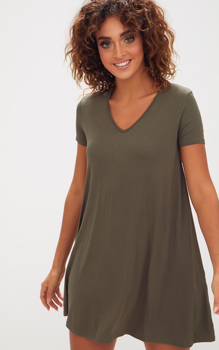 Khaki Cap Sleeve V Neckline Swing Dress
