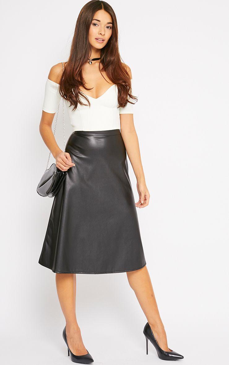 Heidi Black Leather A Line Midi Skirt 1
