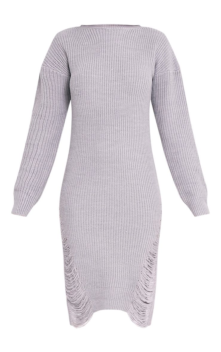 Kionae robe en maille surdimensionnée grise 3