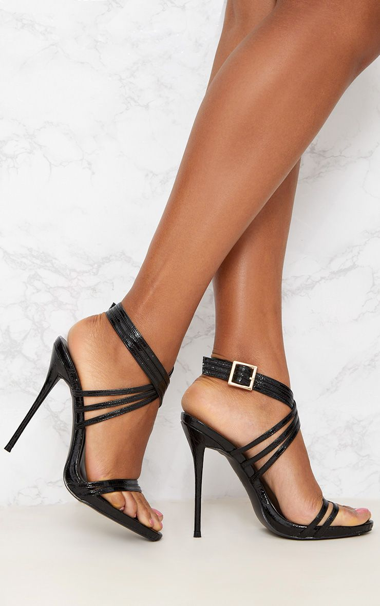 Black Multi Strap Stiletto Heels