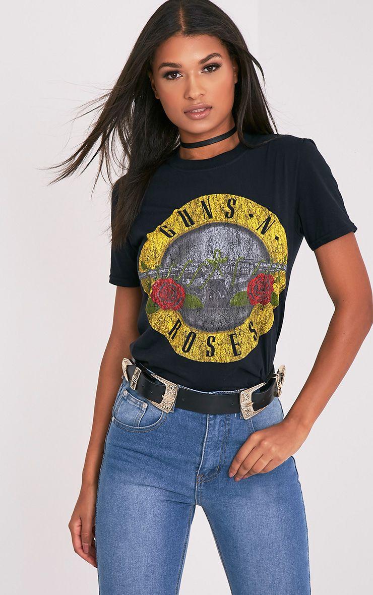 Guns n Roses Black Slogan T Shirt