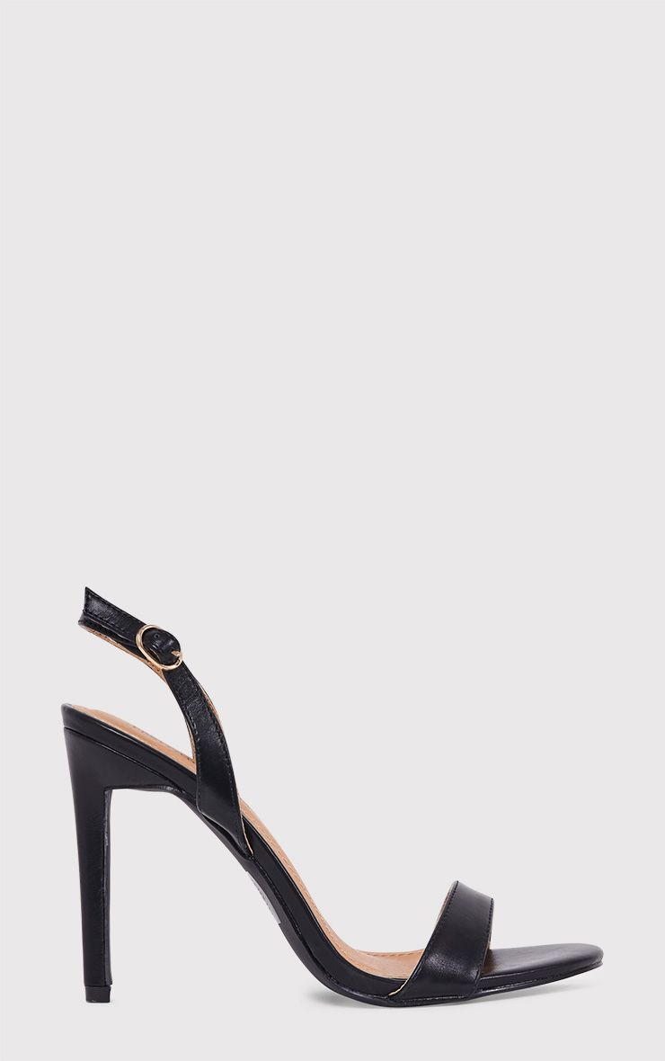 Zaylie Black PU Sling Back Heeled Sandals