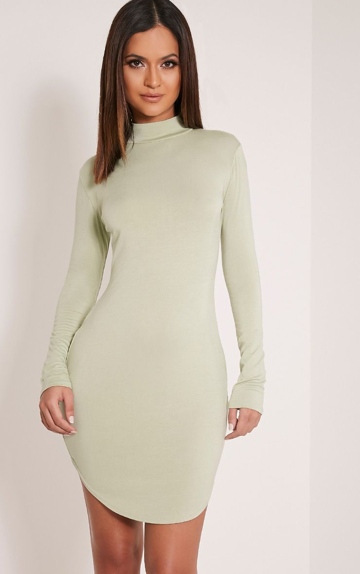 Alby Sage Green Curve Hem High Neck Dress 1