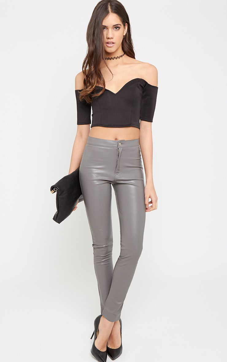 Lina Grey Skinny Leather Trouser 1