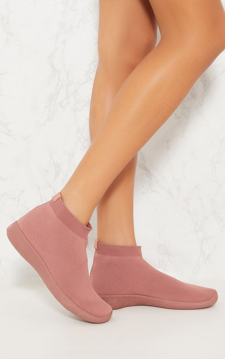 Dusty Pink Knit Sock Trainers