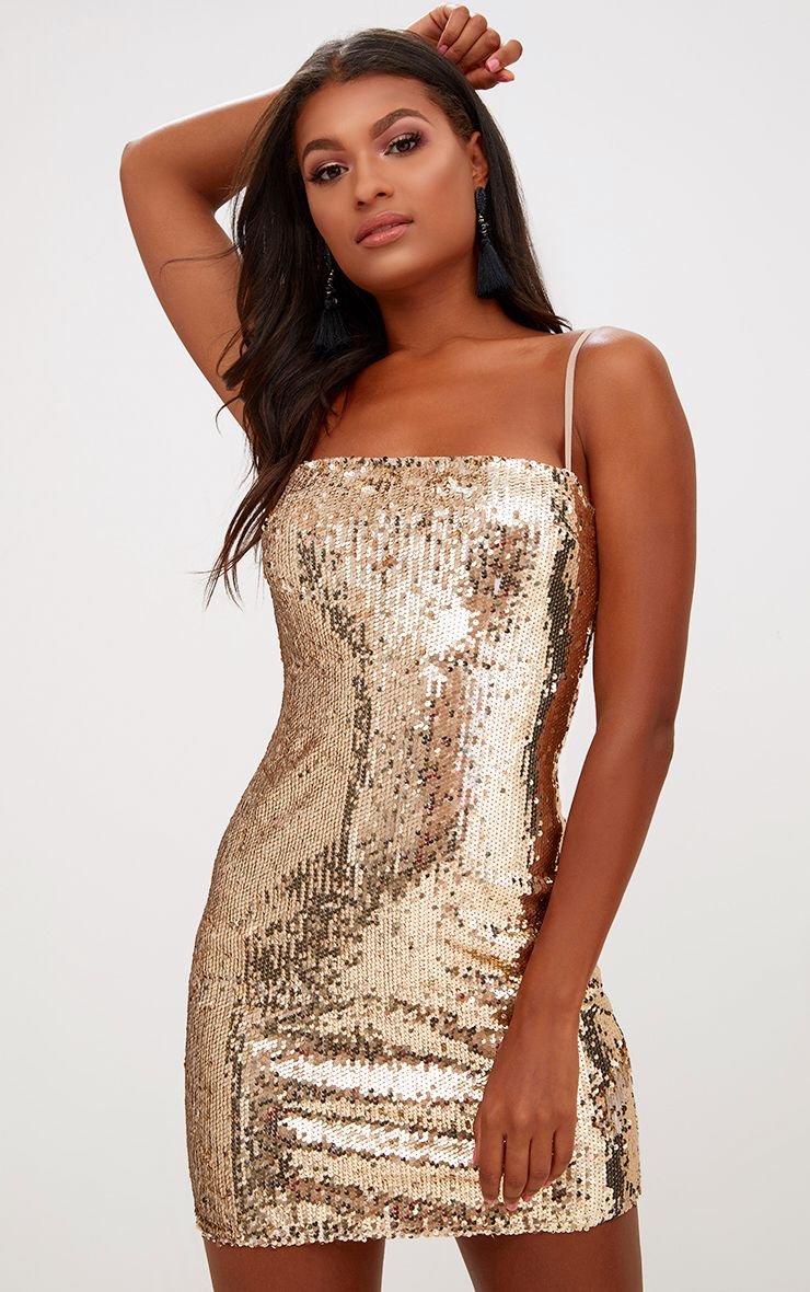 Gold Square Neck Sequin Bodycon Dress 1