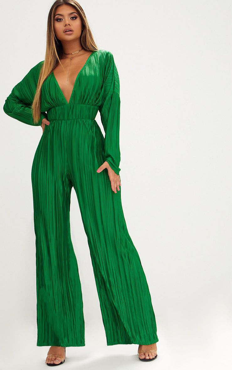 Emerald Green Long Sleeve Pleated Jumpsuit