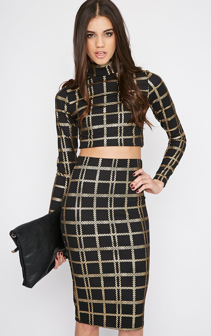 Jessica Black and Gold Turtle Neck Checked Crop Top 1