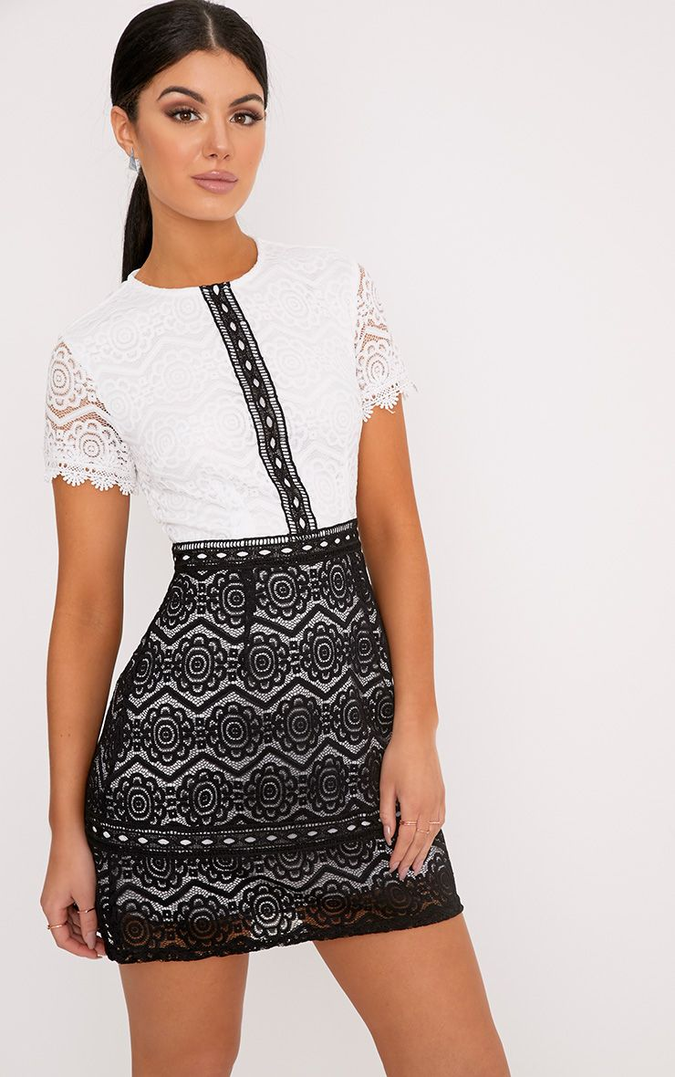 Anita Monochrome Lace Shift Dress