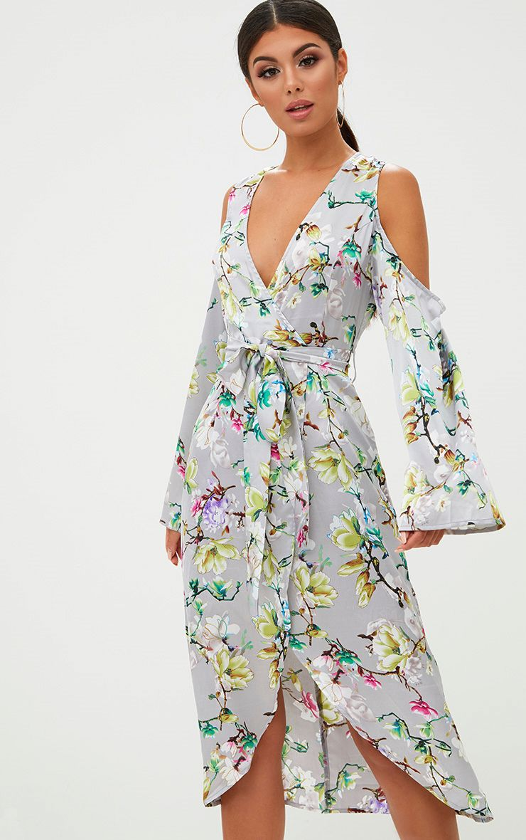 Grey Floral Satin Midi Dress