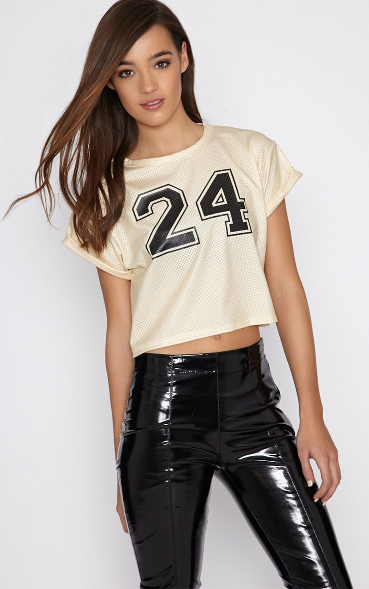 Hailey Cream Sport Mesh Crop Top  1