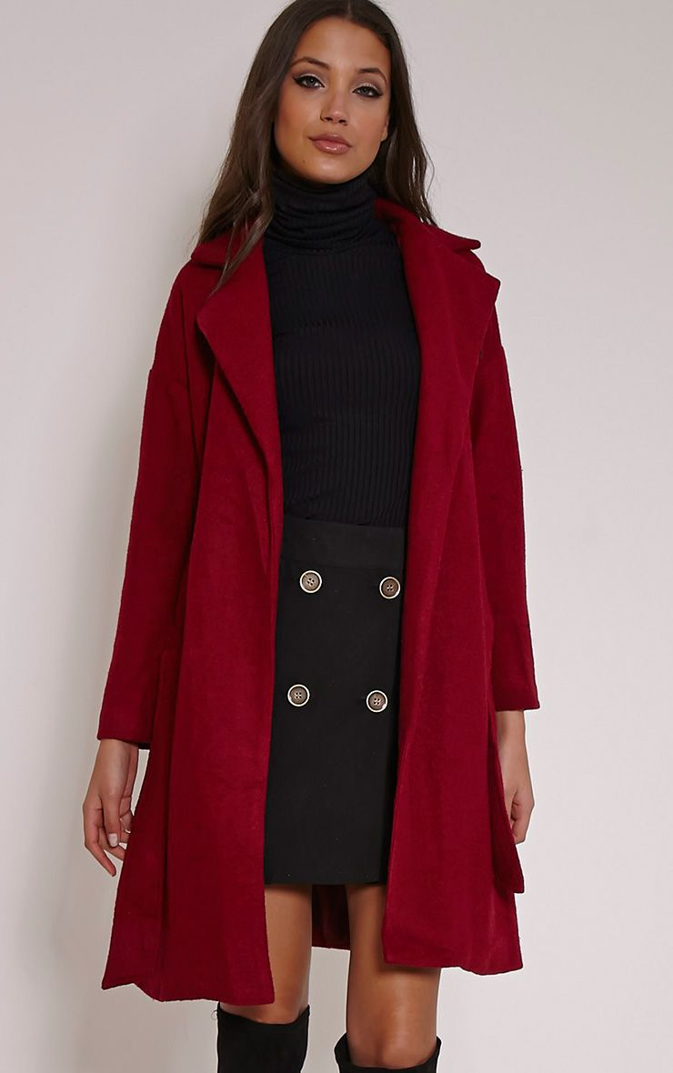 Evangeline Burgundy Wool Trench Coat 1
