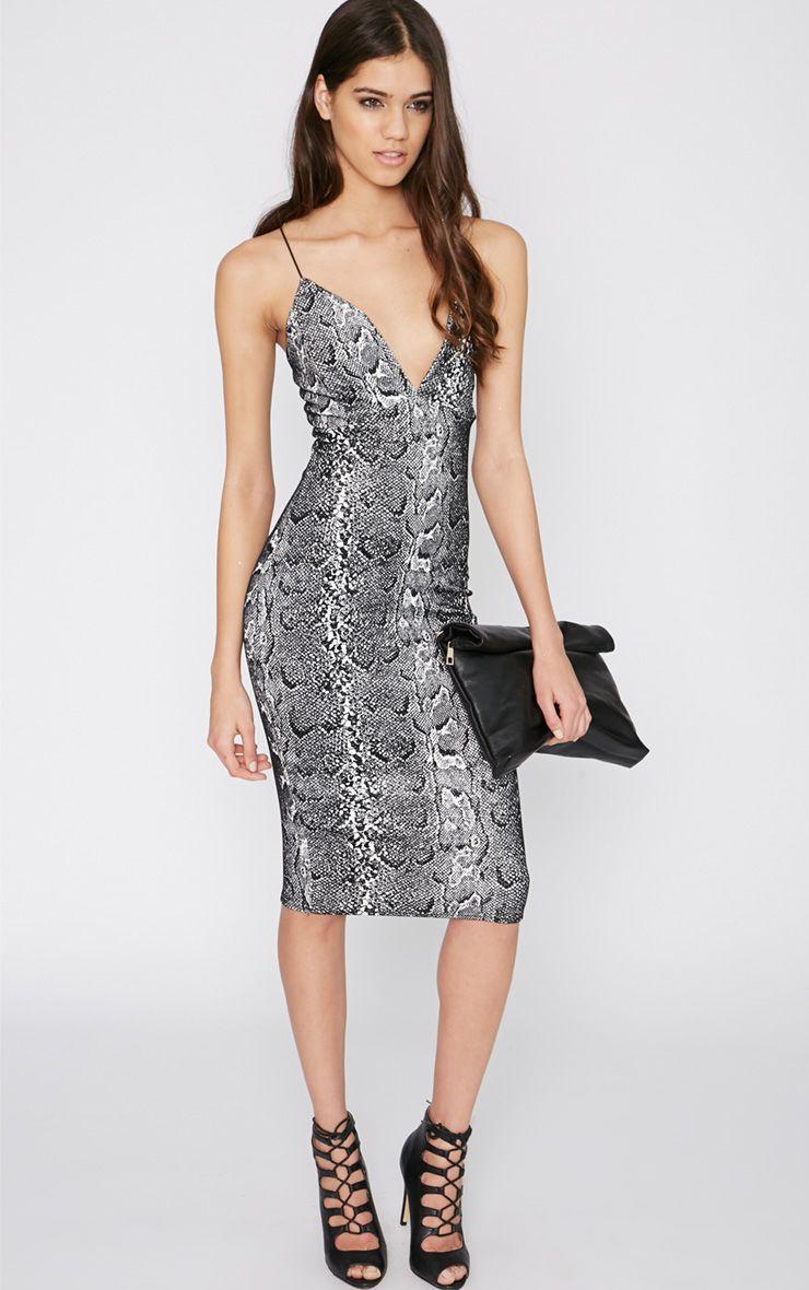 Babita Velvet Glitter Snake Print Midi Dress  1