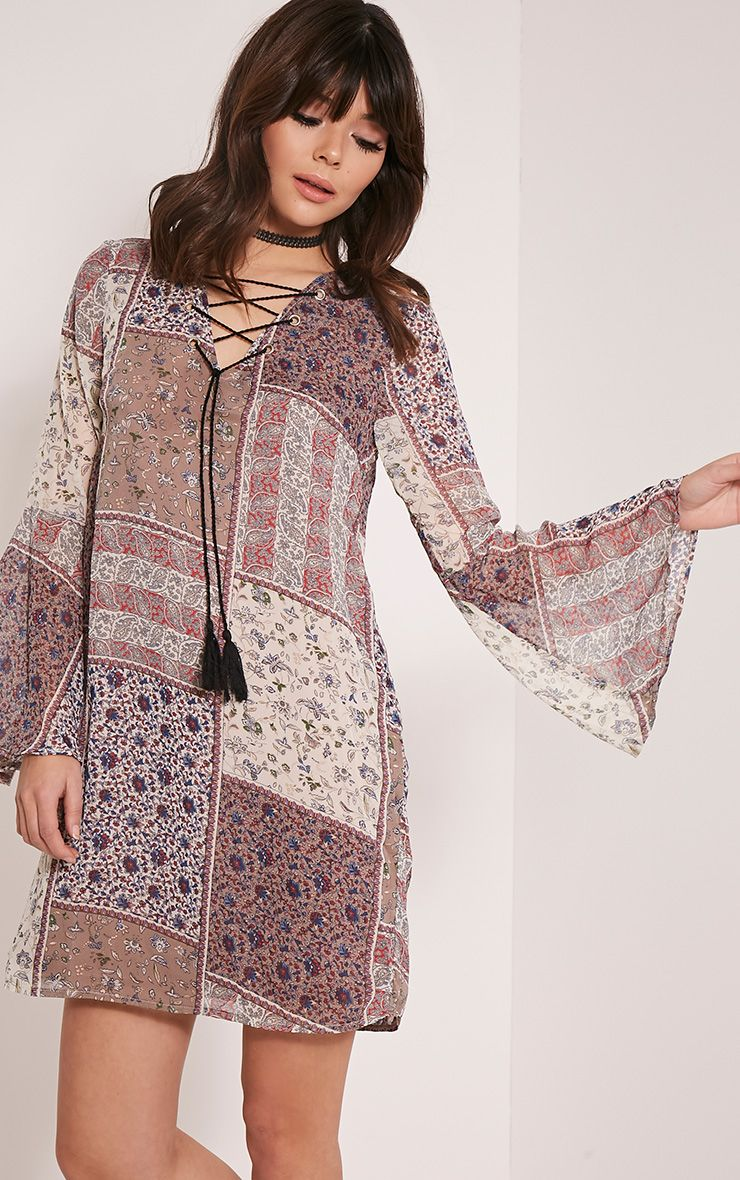 Amadia Taupe Lace Up Printed Shift Dress 1