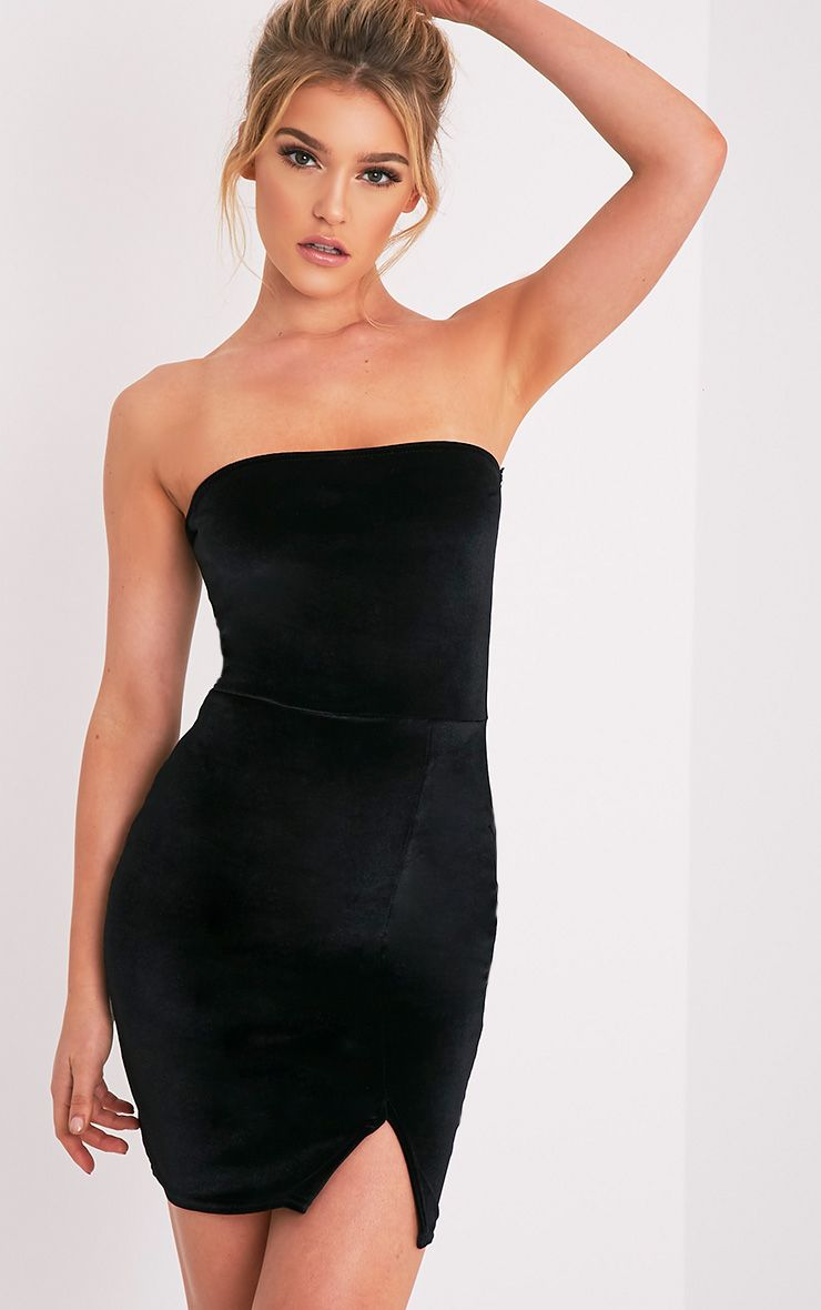 Layala Black Velvet Split Detail Bande Dress