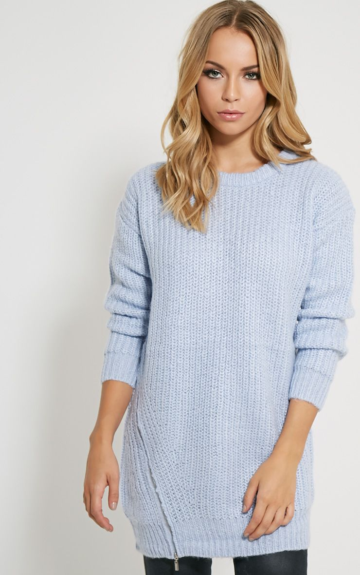 Lilja Chalk Blue Zip Detail Jumper 1