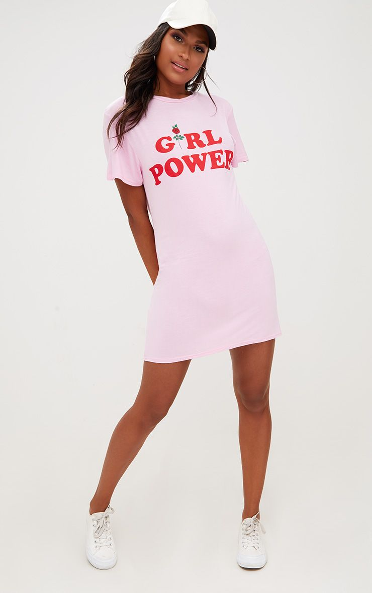 Robe t-shirt rose slogan Girl Power