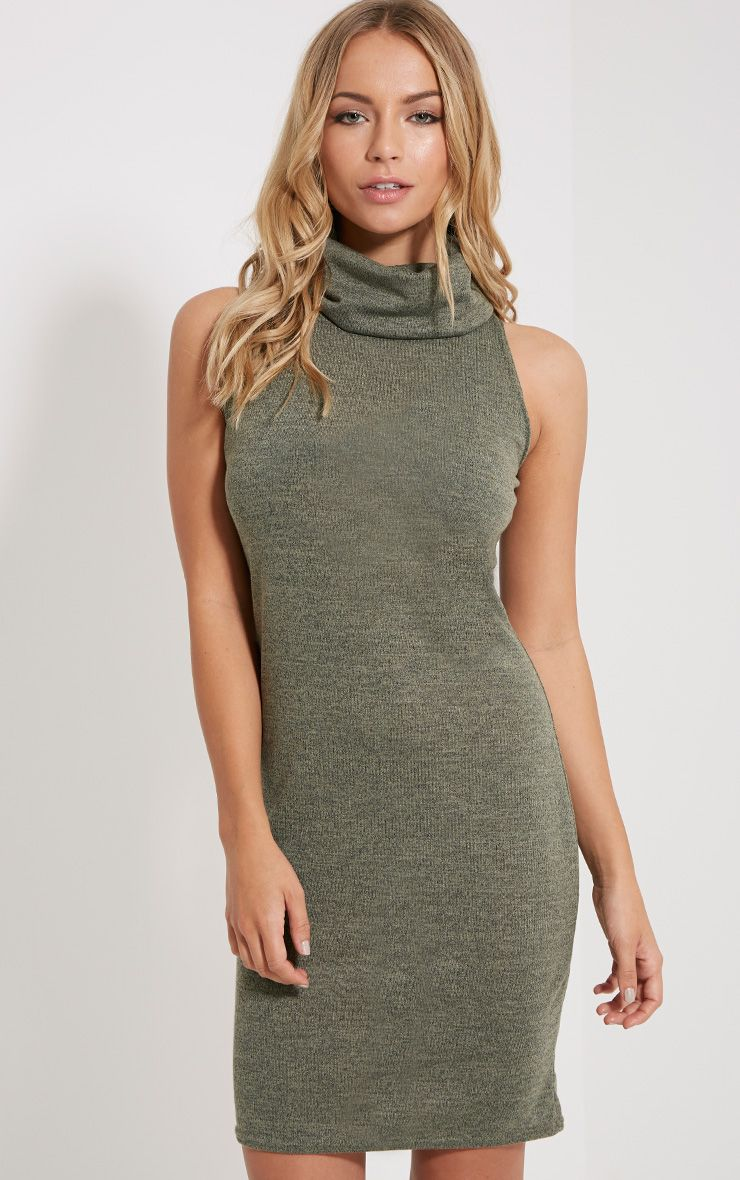 Yelena Khaki Knitted Marl Roll Neck Dress 1