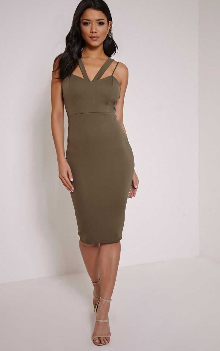 Anthea Khaki Double Strap Scuba Dress 1