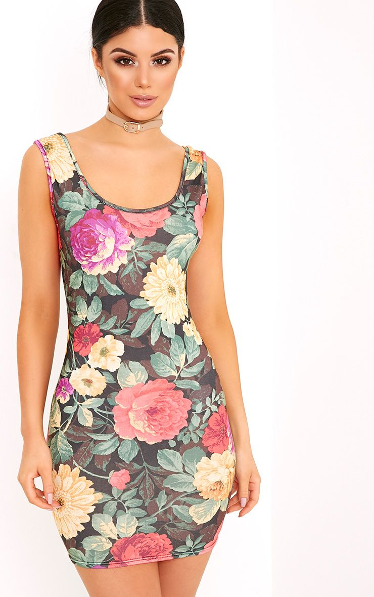 Salma Black Floral Scoop Neck Bodycon Dress