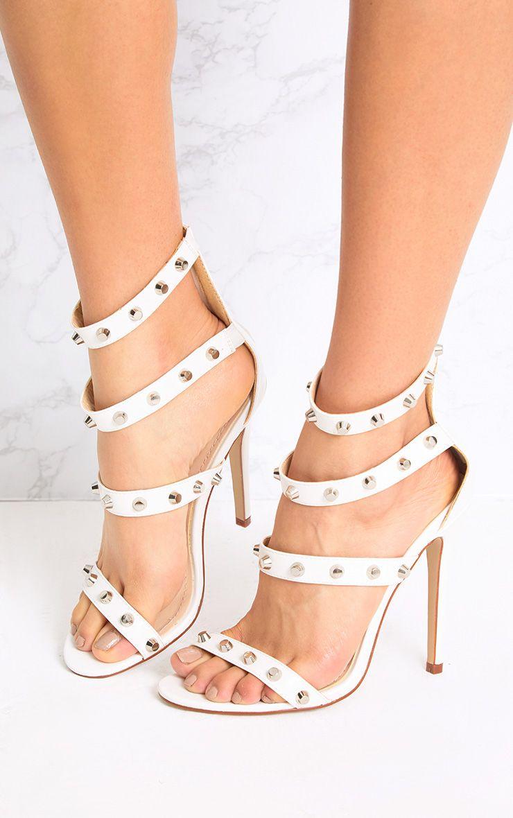 Latasha White Studded Strappy Heels