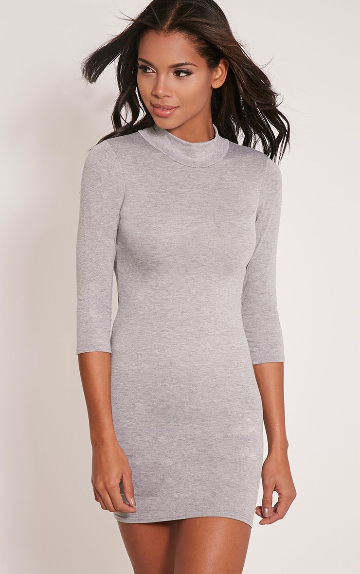 Basic Grey High Neck Jersey Mini Dress 1