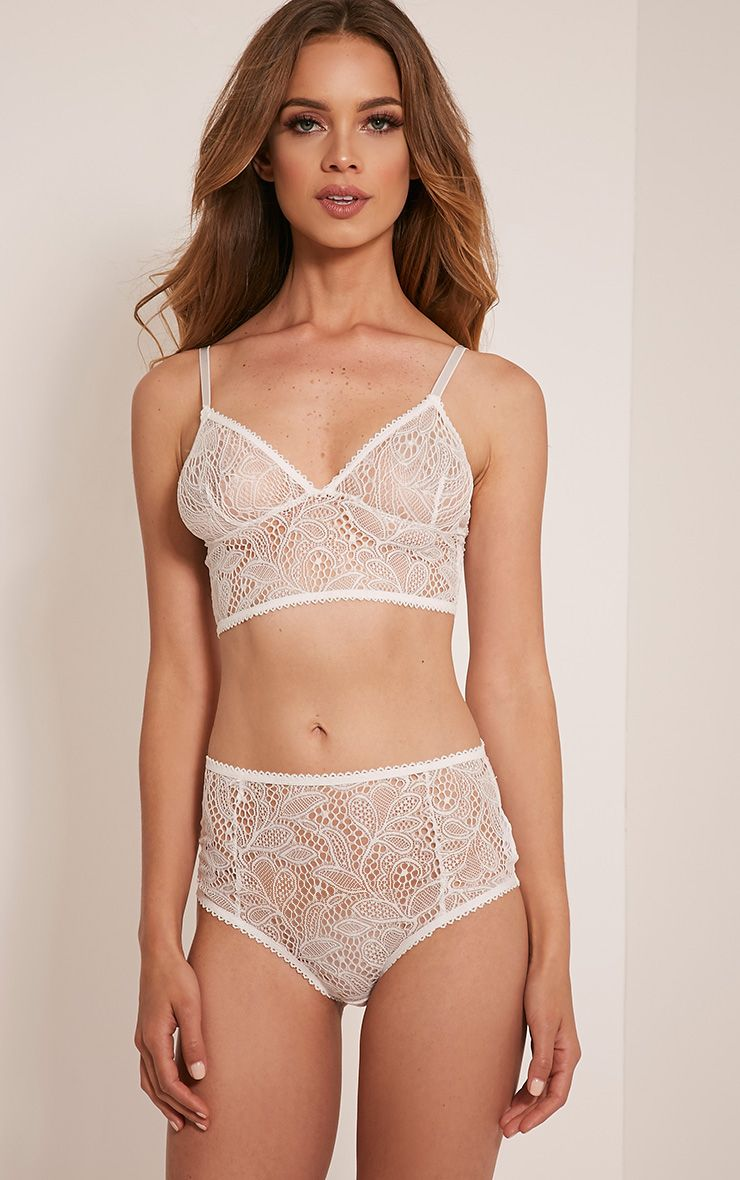 Leena White Lace High Waisted Knickers