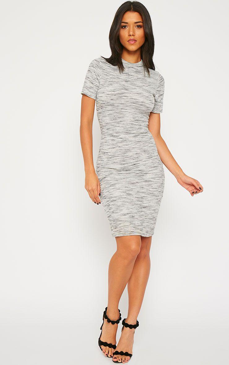 Ragna Grey Marl Short Sleeve High Neck Dress 1