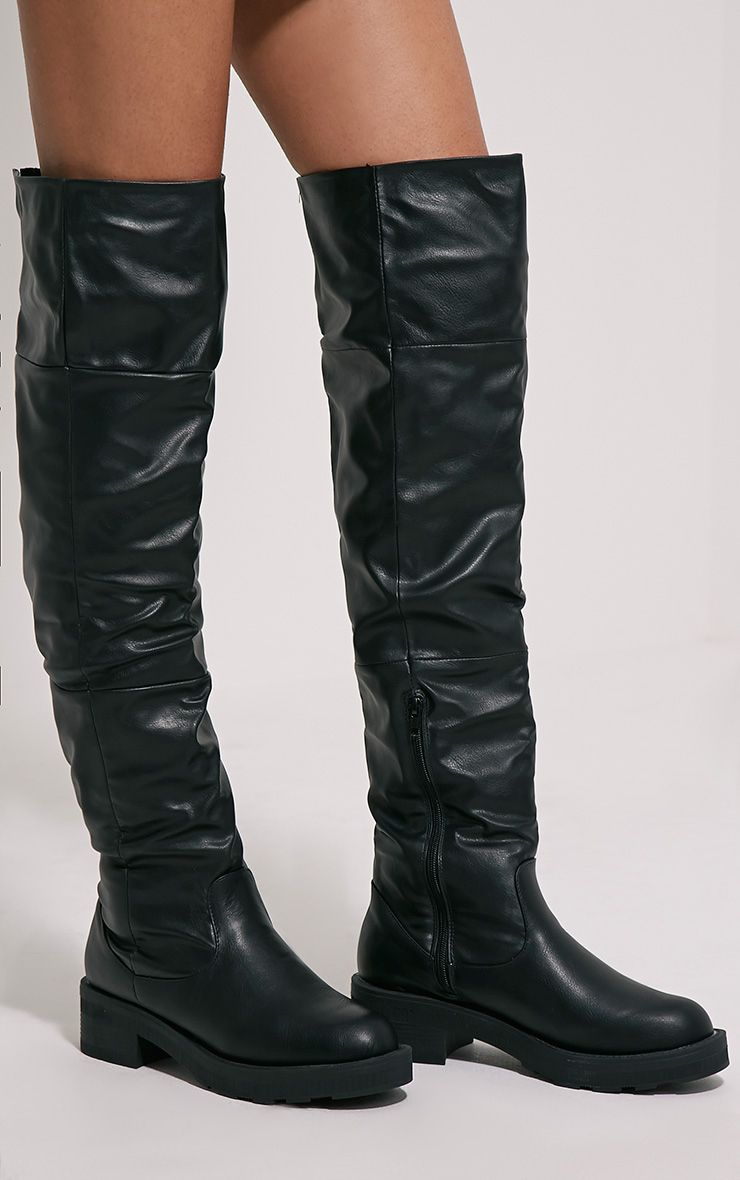 Varley Black Faux Leather Thigh High Flat Boots 1