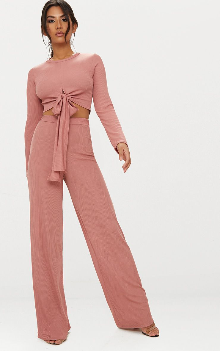 Blush Wide Leg Rib Trousers