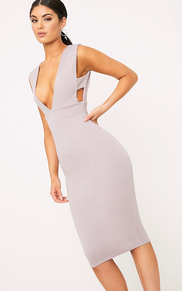Lilac Grey Strap Side Plunge Midi Dress