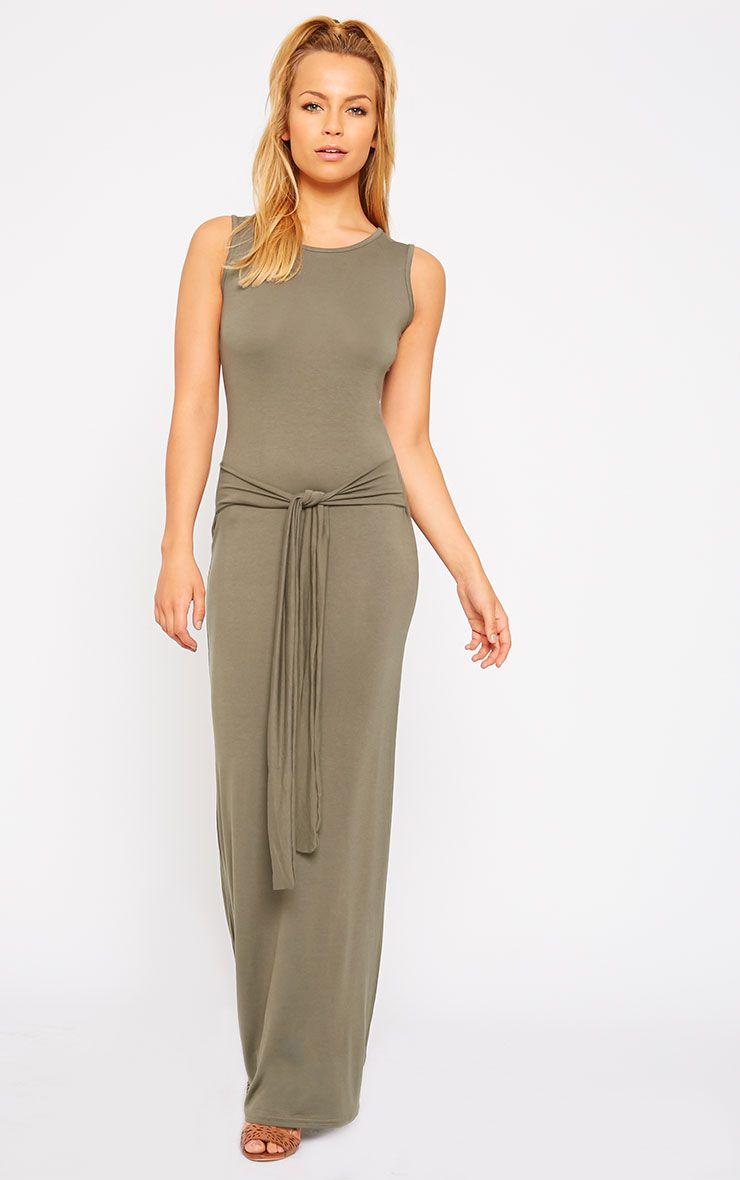 Annie Khaki Tie Front Maxi Dress 1