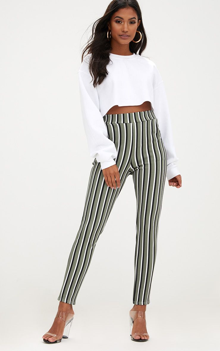 Khaki Vertical Stripe Skinny Trousers