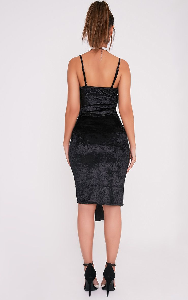 Prina Black Crushed Velvet Strappy Wrap Over Midi Dress 2