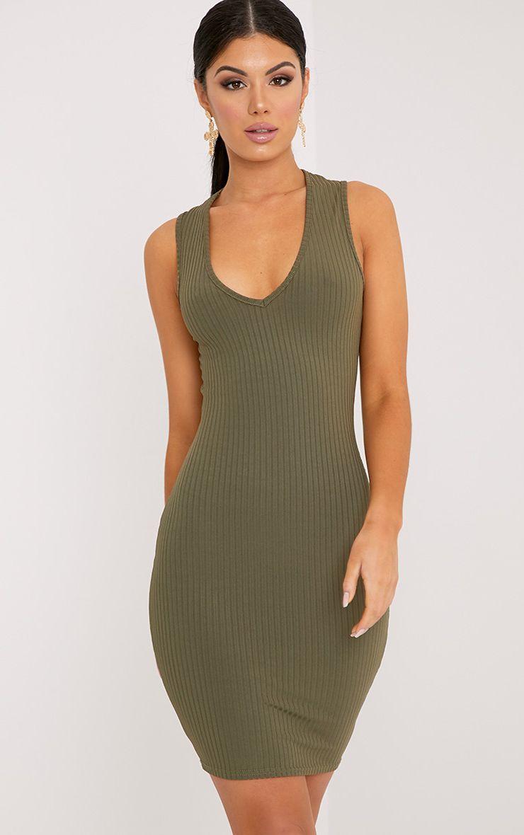 Gayna Khaki Plunge Neck Ribbed Bodycon Dress