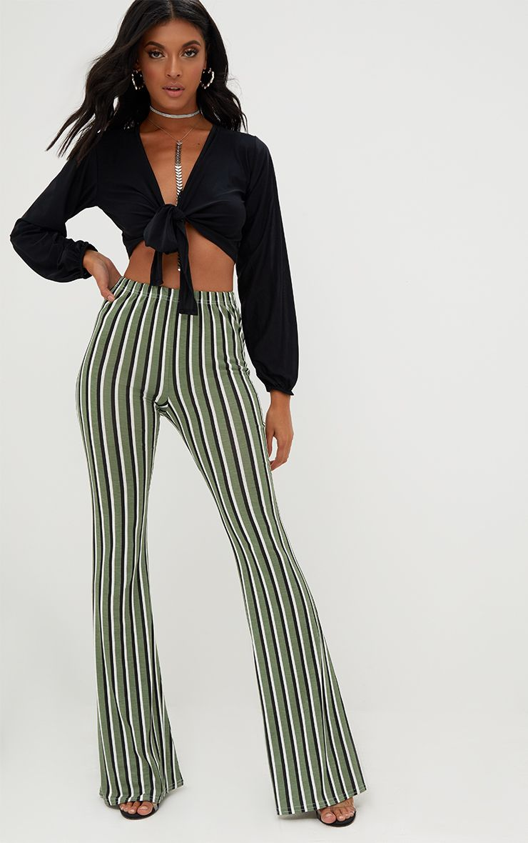 Khaki Jersey Vertical Stripe Trousers
