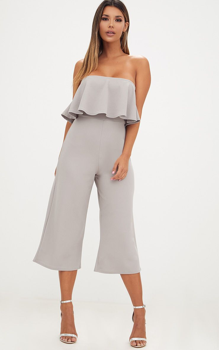 Grey Bardot Double Layer Culotte Jumpsuit
