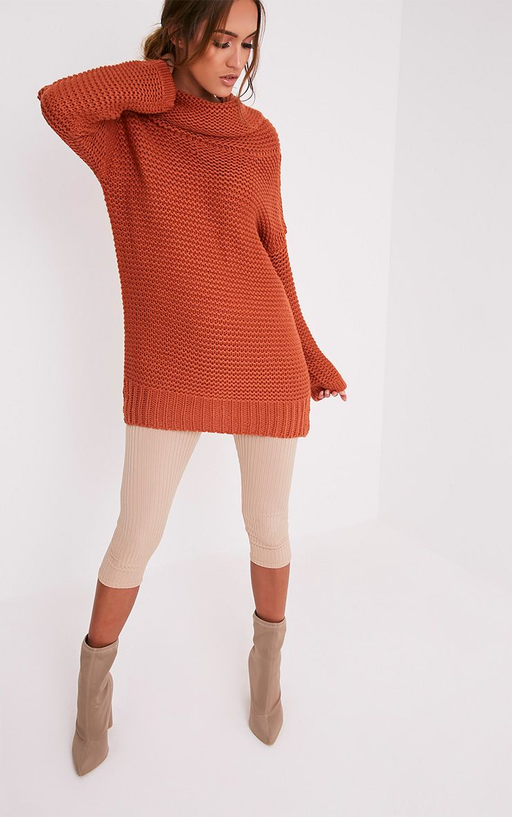Camarina pull tricoté épais à col roulé cannelle 5