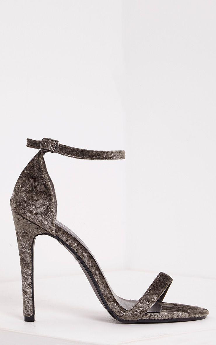Clover Khaki Velvet Strap Heeled Sandals