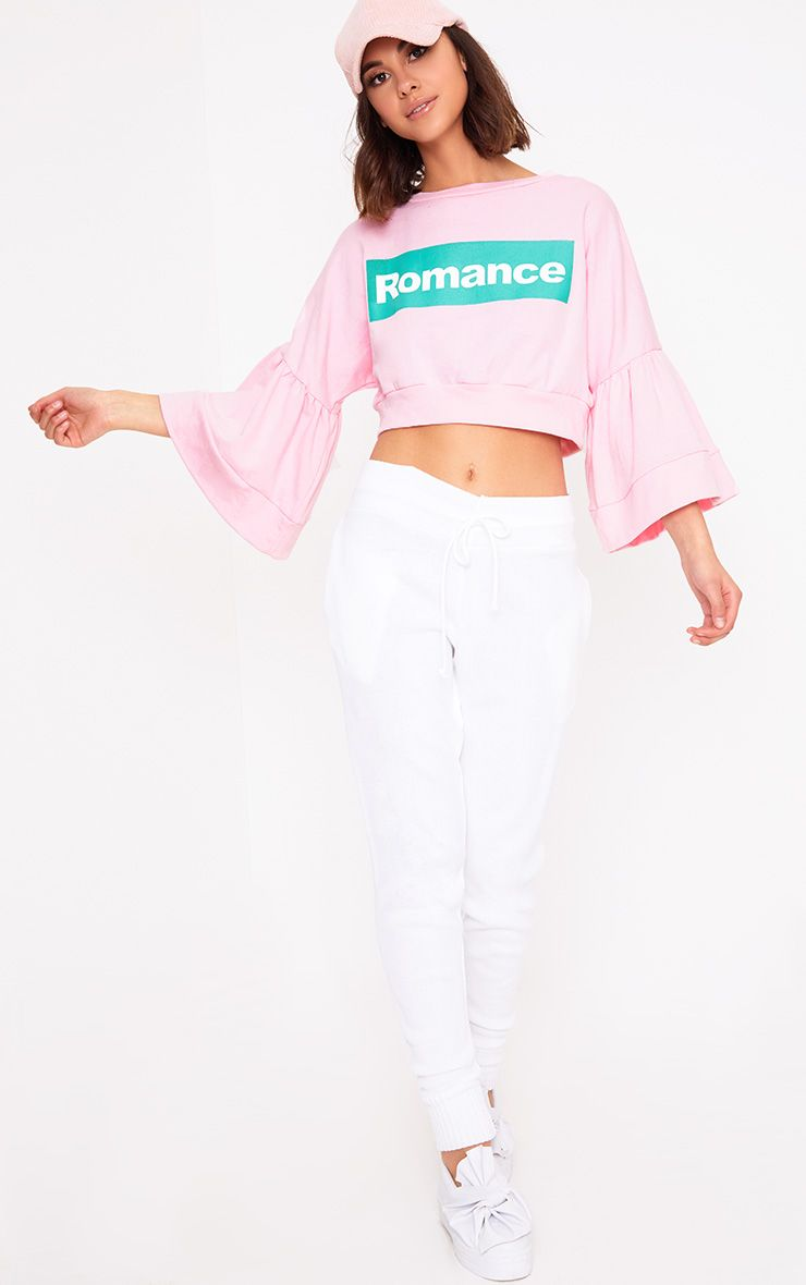 PrettyLittleThing Womens Baby Pink Romance Slogan Balloon Sleeve ...