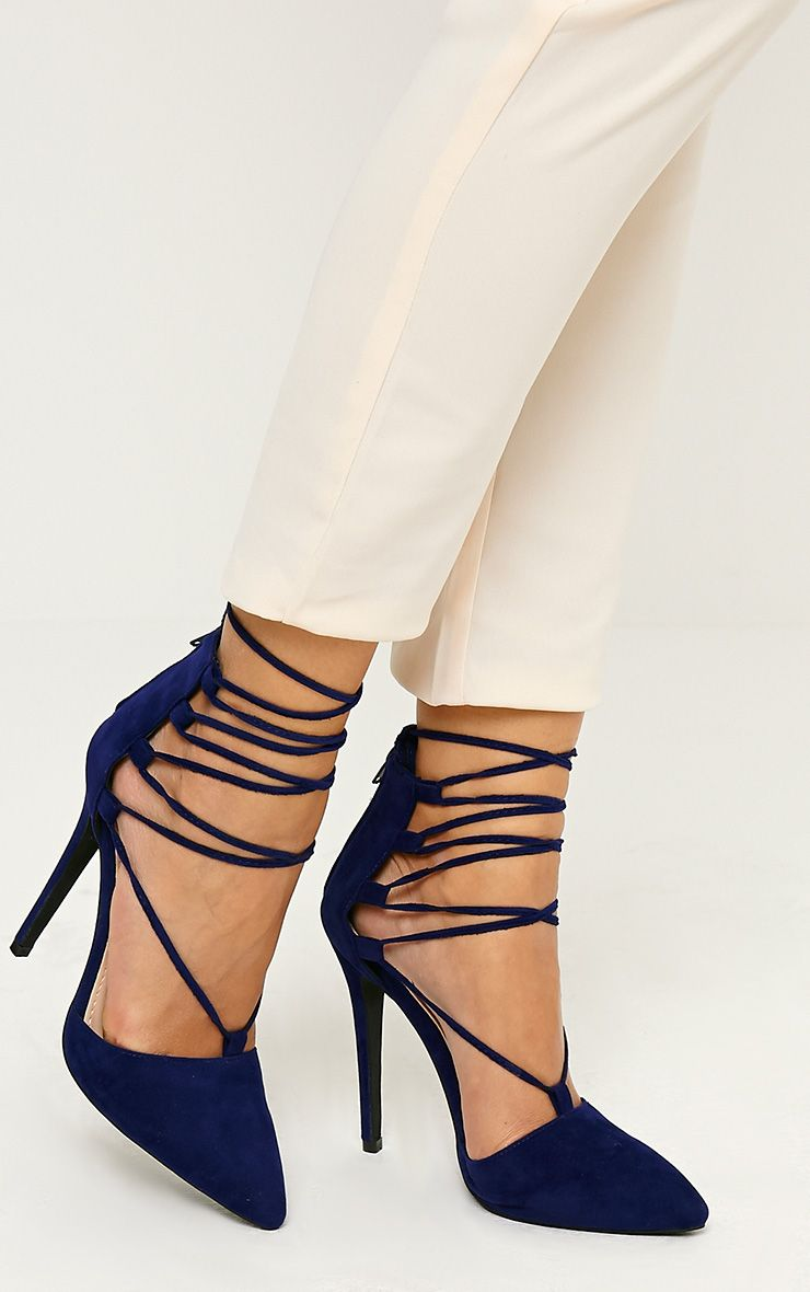 Bali Blue Faux Suede Pointed Strappy Lace Up Heels 1