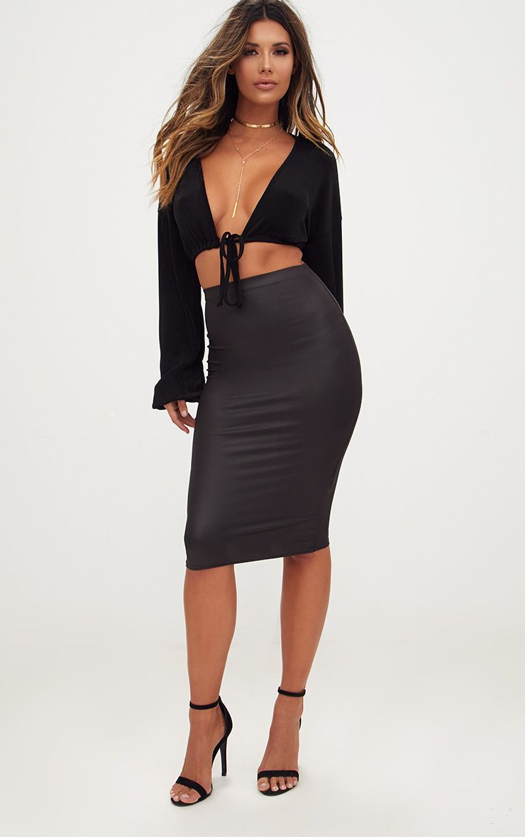 Black Leather Look Midi Skirt