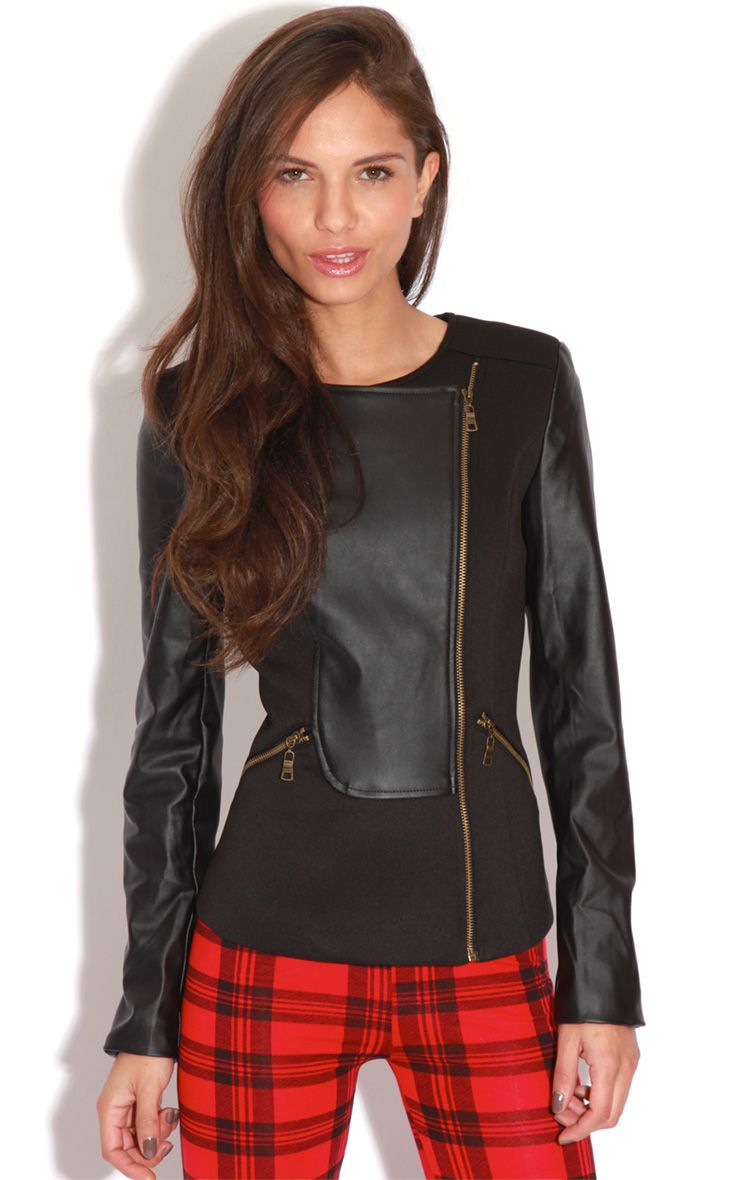 Brook Black PU Panel Biker Jacket 1