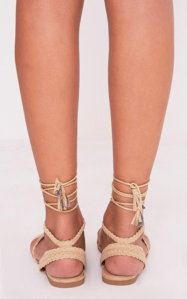 Catia Beige Lace Up Detail Sandals 4
