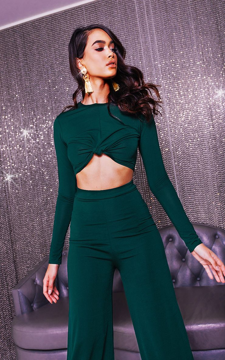 Emerald Green Slinky Knot Front Long Sleeve Crop Top